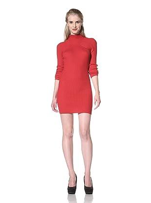 L.A.M.B. Women's Hooded Sweater Dress (Red)