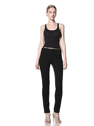 Pink Tartan Women's Knit Straight Leg Pant (Black)