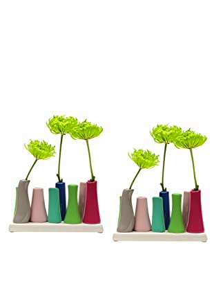 Chive Set of 2 Pooley2 8-Tube Color Vases, Green