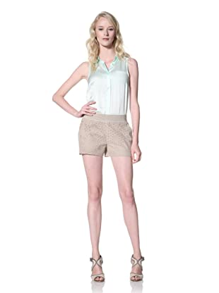 Winter Kate Women's Kanya Laser Cut Leather Shorts (Stone)