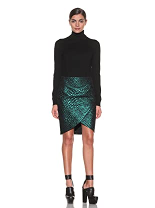 Costume National Women's Metallic Tulip Skirt (Green)