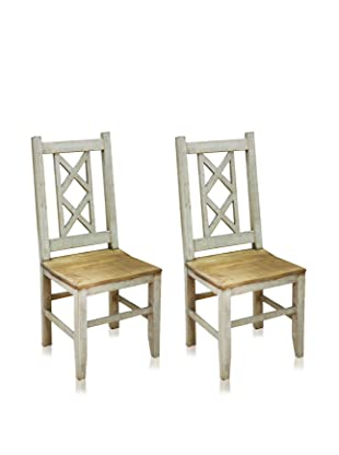 Reclaimed Wood Furniture Set of 2 Bombay Dining Chair (White)
