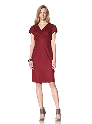 ALTUZARRA Women's Stretch Wool V-Neck Dress (Burgundy)
