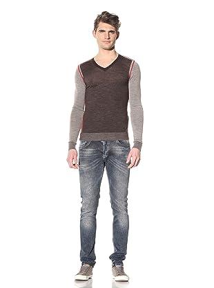 Just Cavalli Men's Long Sleeve V-Neck Pullover (Brown)