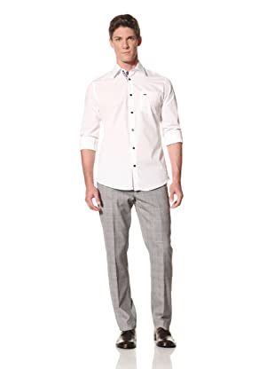 Moods of Norway Men's Kristian Vik Formal Collar Shirt with Contrast Buttons (White)