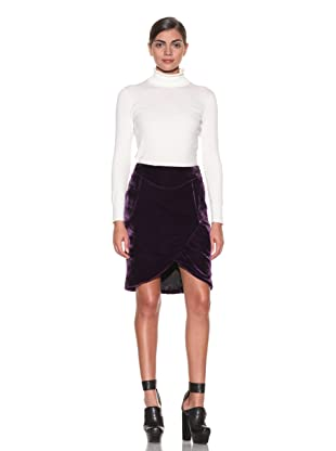 Costume National Women's Velvet Tulip Skirt (Violet)