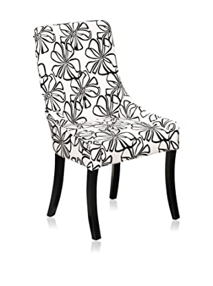 Armen Living Cynthia Microfiber Chair, Black/White