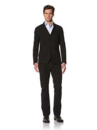 John Varvatos Collection Men's Peaked Lapel Jacket with Raw-Edge Collar (Black)