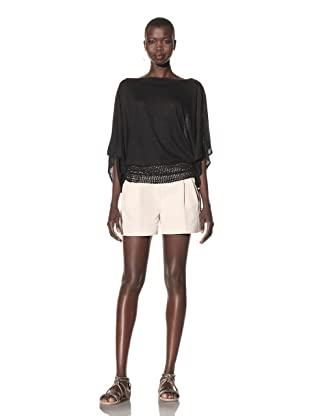Acrobat Women's Crochet Hem Tunic Top (Black)