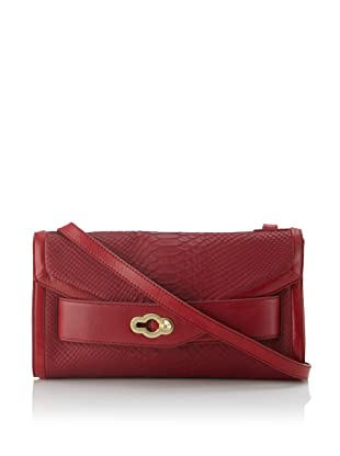 Pour La Victoire Women's Roma Snake-Embossed Convertible Clutch (Red)