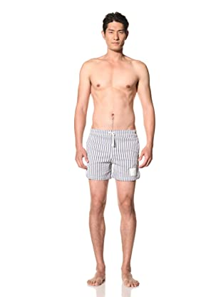 Thom Browne Men's Drawstring Swim Trunks (Navy/Blue/White)