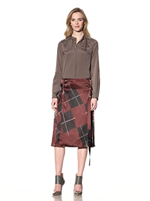 ALTUZARRA Women's Silk Skirt with Side Pleats (Burgundy Print)