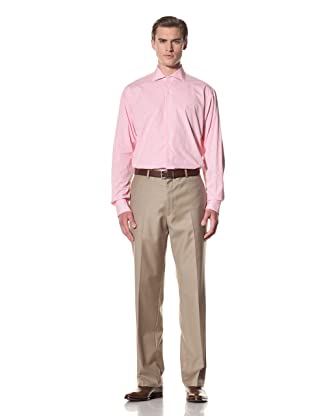 Domenico Vacca Men's Gingham Button-Up Shirt (White/Thin Pink Check)