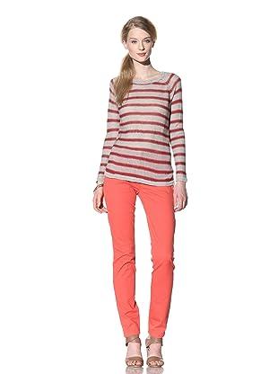 525 America Women's Vintage Stripe Pullover (Red Combo)