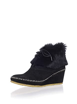 André Assous Women's Barlow Rabbit Fur Ankle Boot (Black)