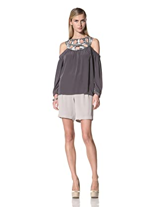 Poleci Women's Off-the-Shoulder Sequin Trim Top (Silver)