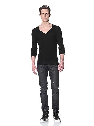 Just Cavalli Men's Ribbed V-Neck Sweater (Black)