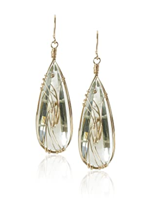 Misha Green Amethyst Curved Teardrop Earrings