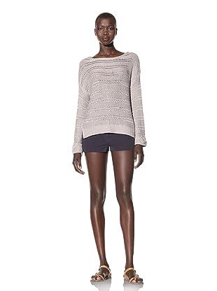 Acrobat Women's Open Knit Stripe Sweater (Aluminum)