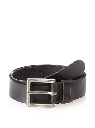 John Varvatos Star USA Men's Washed Iron Leather Strap Tab Belt (Black)