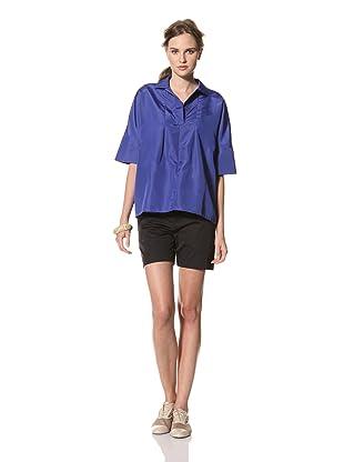 MARNI Women's Short Sleeve V-Neck Top (Blue)