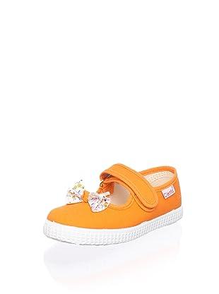 Cienta Kid's Bow Mary Jane Sneaker (Orange)