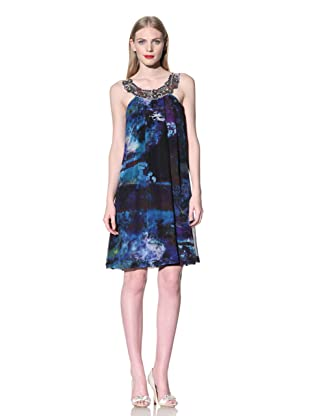Mark + James by Badgley Mischka Women's Printed Dress with Embellished Collar (Multi)