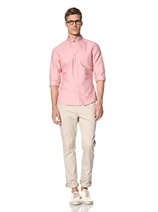 Vanishing Elephant Men's Classic Long Sleeve Woven Shirt (Red Mini Dot)