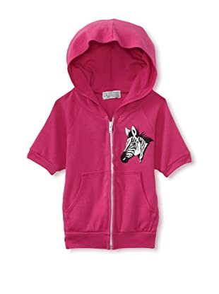 LA Lounge Girl's Zebra Short Sleeve Hoodie (Magenta)