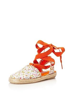 Cienta Kid's Floral Espadrille (Orange)