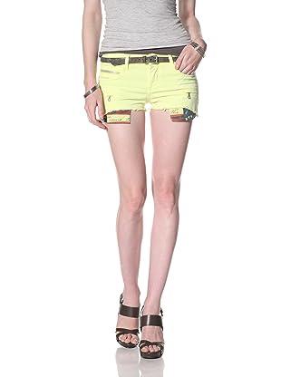 Rockstar Women's Twill Cutoff Shorts (Neon Yellow)