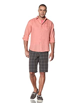 EQ Men's Enzyme Washed Linen Shirt (Coral)