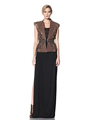 Haider Ackermann Women's Detachable Skirt Cut-Out Leather Vest (Tobacco)