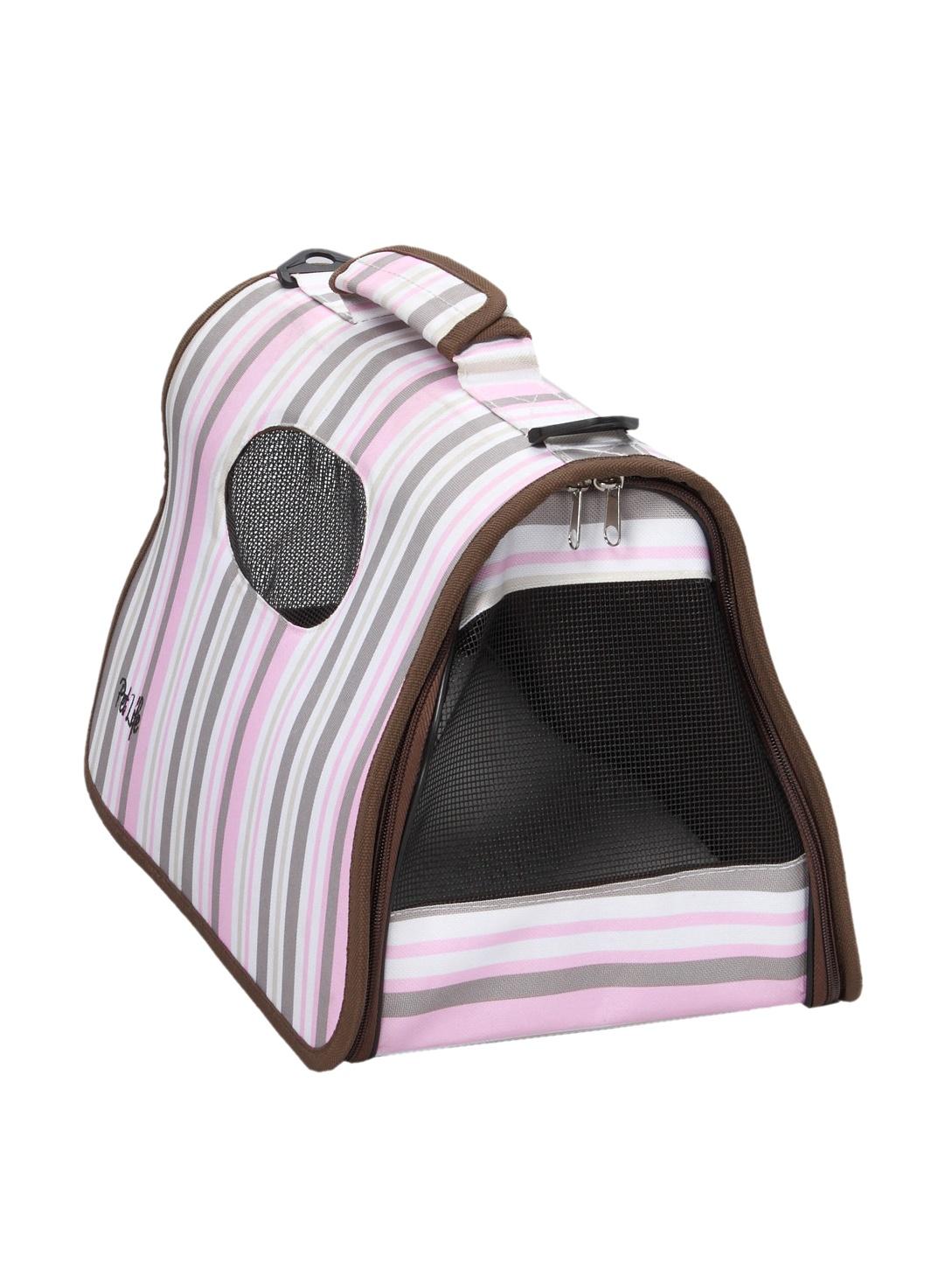 Pet Life Folding Zippered Casual Pet Carrier (Stripe Pattern)