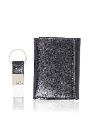 Calvin Klein Men's Leather Trifold/Key Fob Set, Black