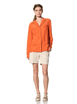 MARNI Women's Long Sleeve Button Front 4-Pocket Top (Orange)