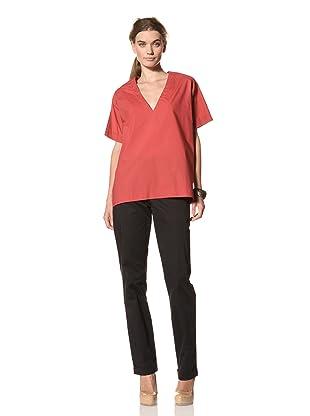 MARNI Women's Short Sleeve V-Neck Shirt (Red)