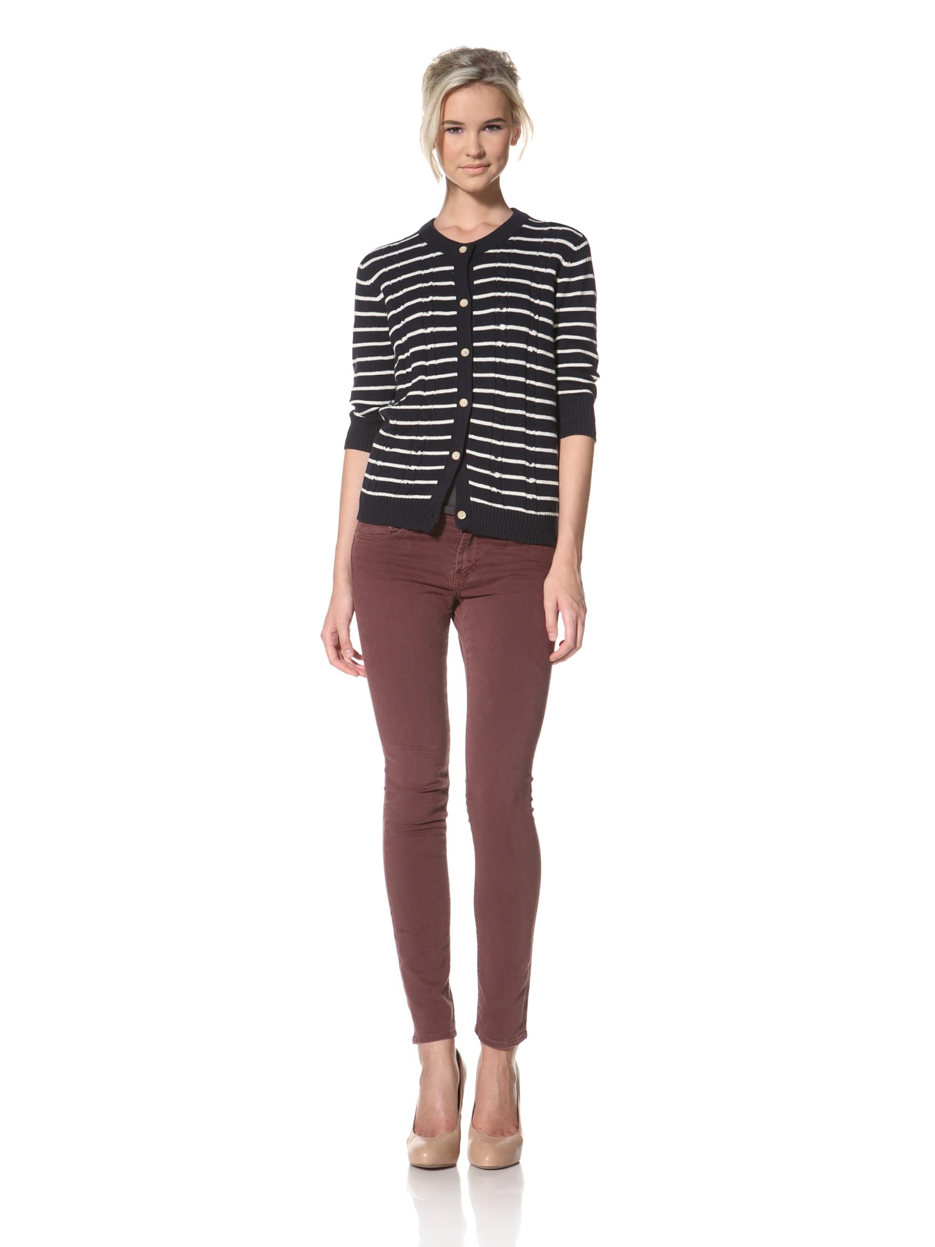 Trovata Women's Brigitte Cardigan Sweater (Navy/Multi Stripes)