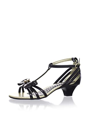 Pampili Kid's Patent Kitten Heel Sandal (Black)