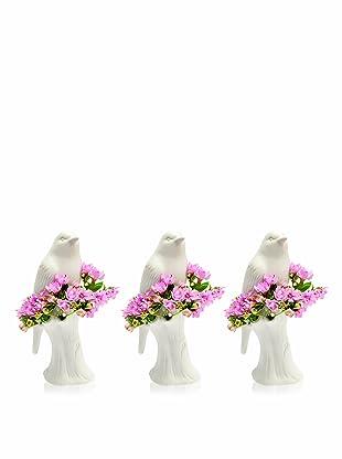 Chive Set of 3 Porcelain Bird Vases