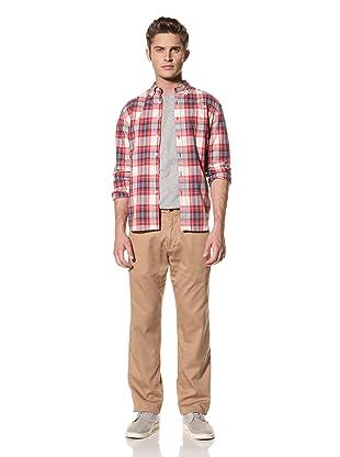 Creep by Hiroshi Awai Men's Cotton Chino Pants with Nylon Insert (Khaki/Red)