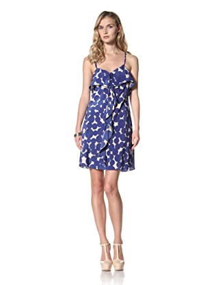 Yoana Baraschi Women's Contact Dot Ruffle Slip Dress (Bright Blue/Shell)