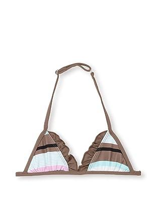 Les UltraViolettes Girl's Bonbon Triangle Swim Top (Imprime Rayure)