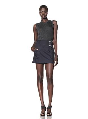 L.A.M.B. Women's Pique Mini Skirt (Dark Navy)