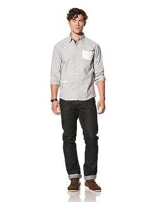 Under 2 Flags Men's Contrast Stripe Woven Shirt (Navy/White)