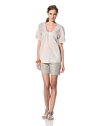 MARNI Women's Short Sleeve Square Neck Top (White/Pale Blue)