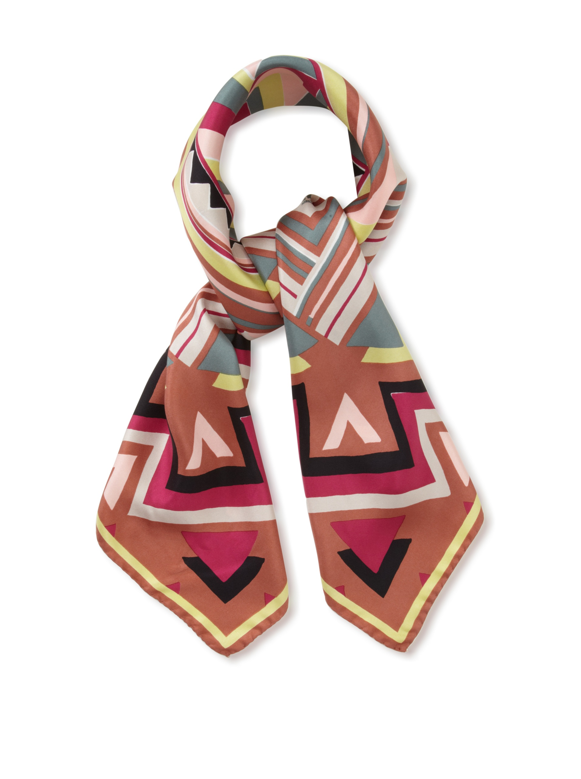 M Missoni Women's Zig-Zag Silk Scarf, Multicolored Brown, One Size