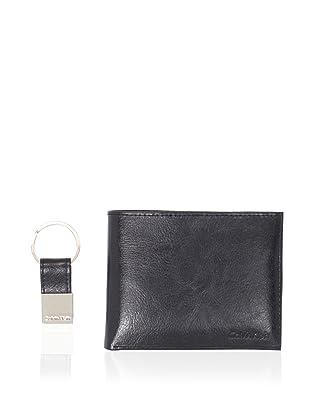 Calvin Klein Men's High Shine Passcase/Key Fob Set (Black)