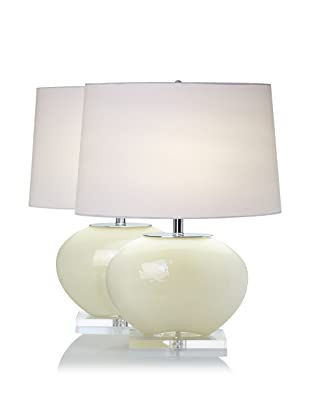 Lighting Accents Set of 2 Oval Glass Lamps (Cream)