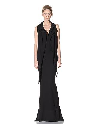 Haider Ackermann Women's Extended Shawl Collar Evening Dress (Black)